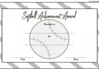 Softball Award Certificate Template 2