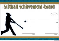 Softball Award Certificate Template 3