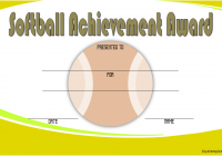 Softball Award Certificate Template 4