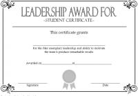 Student Leadership Award Certificate Template