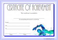 Swimming Achievement Certificate Template 1
