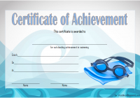 Swimming Achievement Certificate Template 3