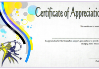 Table Tennis Appreciation Certificate Template 3