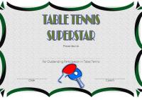 Table Tennis Award Certificate Template
