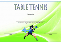 Table Tennis Certificate Template 6