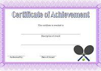 Tennis Achievement Certificate Template 4