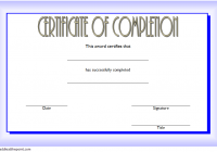 Training Completion Certificate Template 1