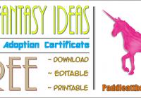 Unicorn Adoption Certificate Free Printable (7+ Fantasy Ideas) by Paddle