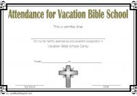 VBS Attendance Certificate Template 6