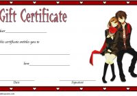 Valentine Gift Certificate Anime Style Template 5