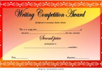 Writing Competition Certificate Template Second Place