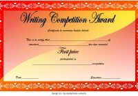 Writing Competition Certificate Template First Place